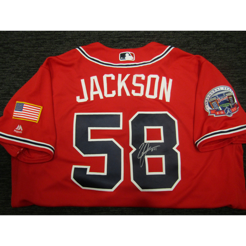 Photo of Braves Charity Auction - Luke Jackson Game-Used & Autographed Braves Military Appreciation Jersey