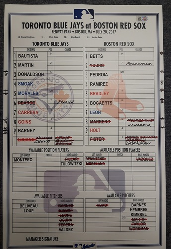 Authenticated Game Used Line Up Card - July 20, 2017 vs BOS: 2 Home Run Game for Justin Smoak