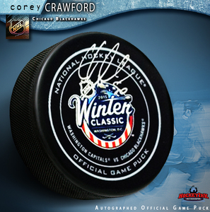 COREY CRAWFORD Signed Chicago Blackhawks 2015 Winter Classic Official Game Puck