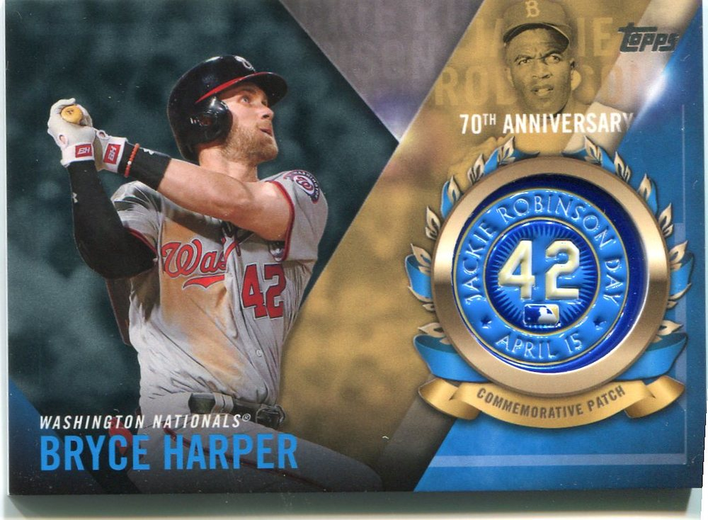 2017 Topps Jackie Robinson Logo Patches #JRPCBH Bryce Harper