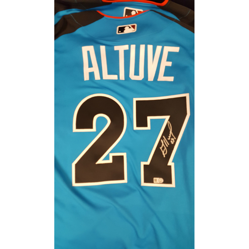 Photo of Jose Altuve 2017 Major League Baseball Workout Day/Home Run Derby Autographed Jersey