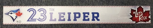 Photo of Authenticated Team Issued Locker Tag - #23 Tim Leiper (2017 Season). 2 feet by 3 inches.