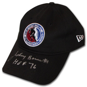 Johnny Bower Autographed Hockey Hall of Fame New Era Hat w/HOF 76 Inscription (Toronto Maple Leafs)