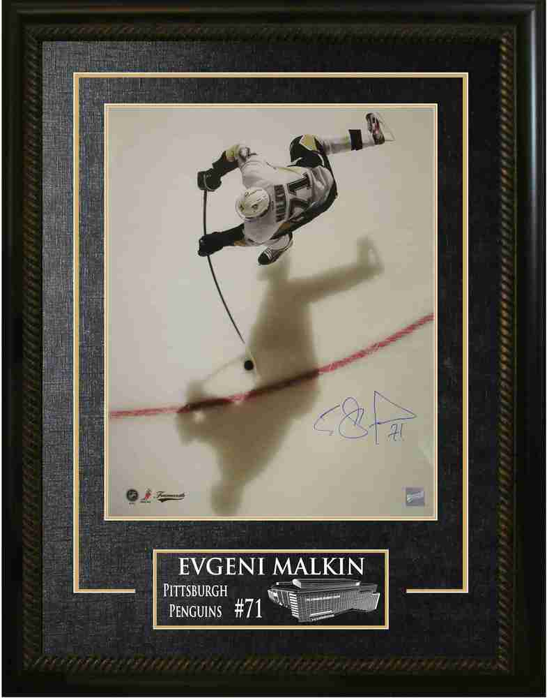Evgeni Malkin - Signed & Framed 16x20 Etched Mat - Pittsburgh Penguins Overhead Shadow