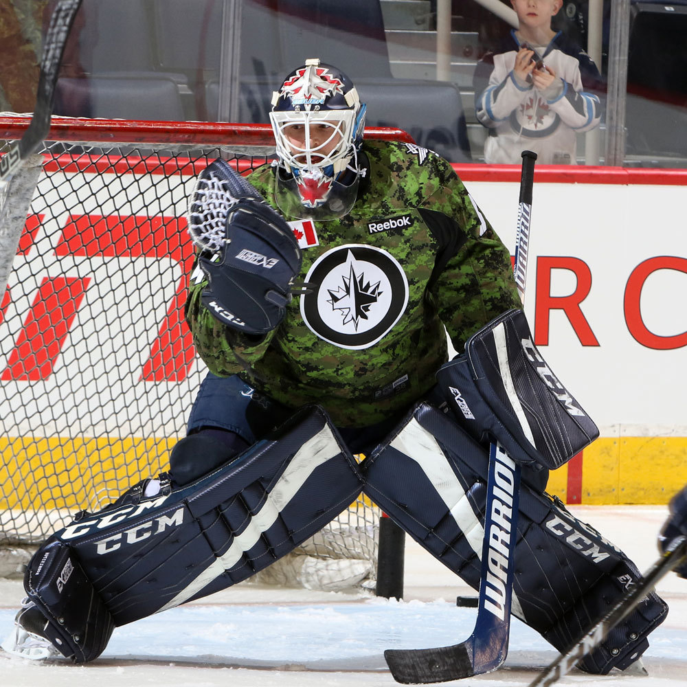Michael Hutchinson Winnipeg Jets Warm Up Worn Canadian Armed Forces jersey
