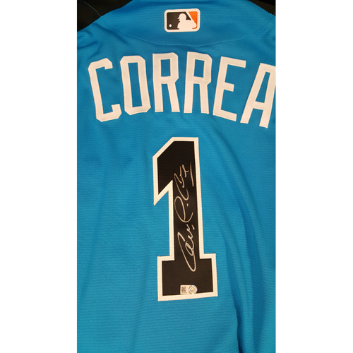 Photo of Carlos Correa 2017 Major League Baseball Workout Day/Home Run Derby Autographed Jersey