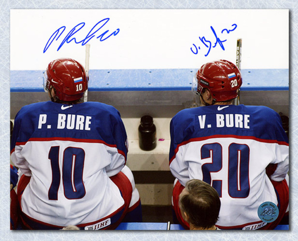 Pavel & Valeri Bure Team Russia Dual Signed Olympic Hockey 8x10 Photo