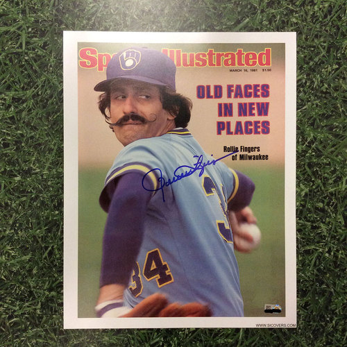Photo of Rollie Fingers Autographed Replica Sports Illustrated Cover