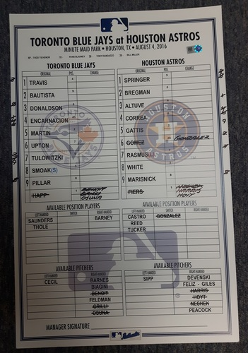 Photo of Authenticated Game Used Line-Up Card - August 4, 2016: Happ becomes first player in 2016 Season to reach 15 Wins. 11 inches by 17 inches.