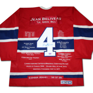 Jean Beliveau Autographed Career Stats Limited-Edition Montreal Canadiens Jersey