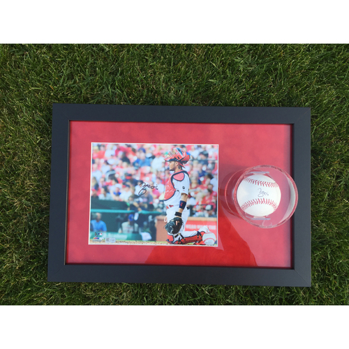 Photo of Cardinals Authentics: Yadier Molina Stare Autographed Photo and Ball Frame