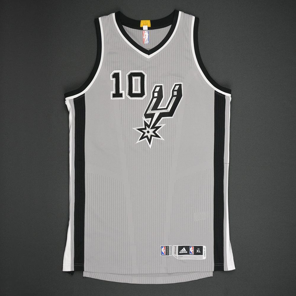 David Lee - San Antonio Spurs - Gray Playoffs Game-Worn Jersey - 2016-17 Season