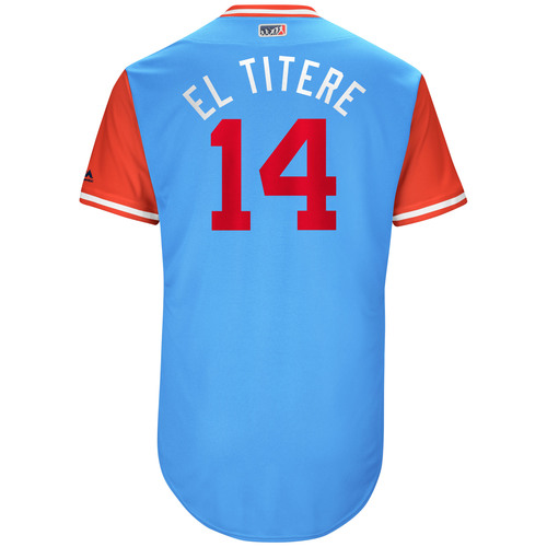 """Photo of Carlos """"El Titere"""" Gomez Texas Rangers Game-Used Players Weekend Jersey"""