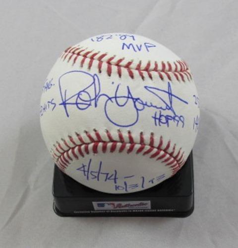 Photo of Robin Yount Autographed STAT Inscription Baseball (Robin R. Yount / HOF 99 / 4.5.74-10.3.93 / .285 AVG / 3,142 Hits / 251 HRs / 1,406 RBI / 82/89 MVP)