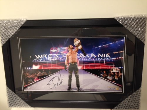 Photo of Seth Rollins SIGNED WrestleMania 31 Championship Framed Photo (Limited Edition of 31)