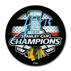 Jonathan Toews Autographed Chicago Blackhawks 2015 Stanley Cup Champions Puck