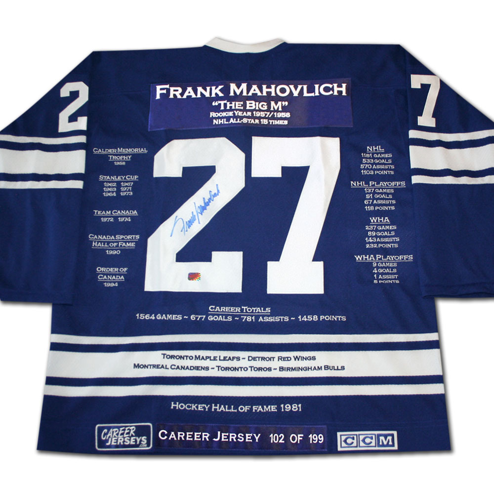 Frank Mahovlich Autographed Career Stats Limited-Edition Toronto Maple Leafs Jersey - #102/199