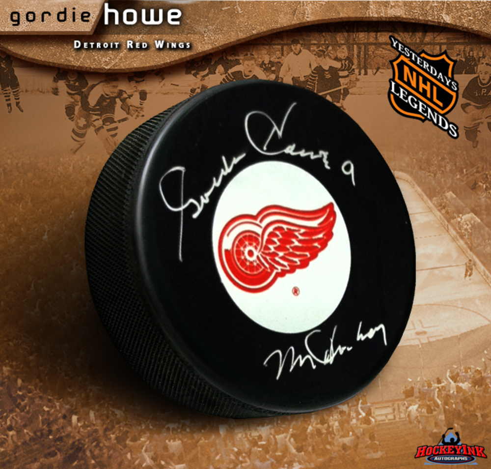 GORDIE HOWE Signed Detroit Red Wings Puck Ins Mr. Hockey