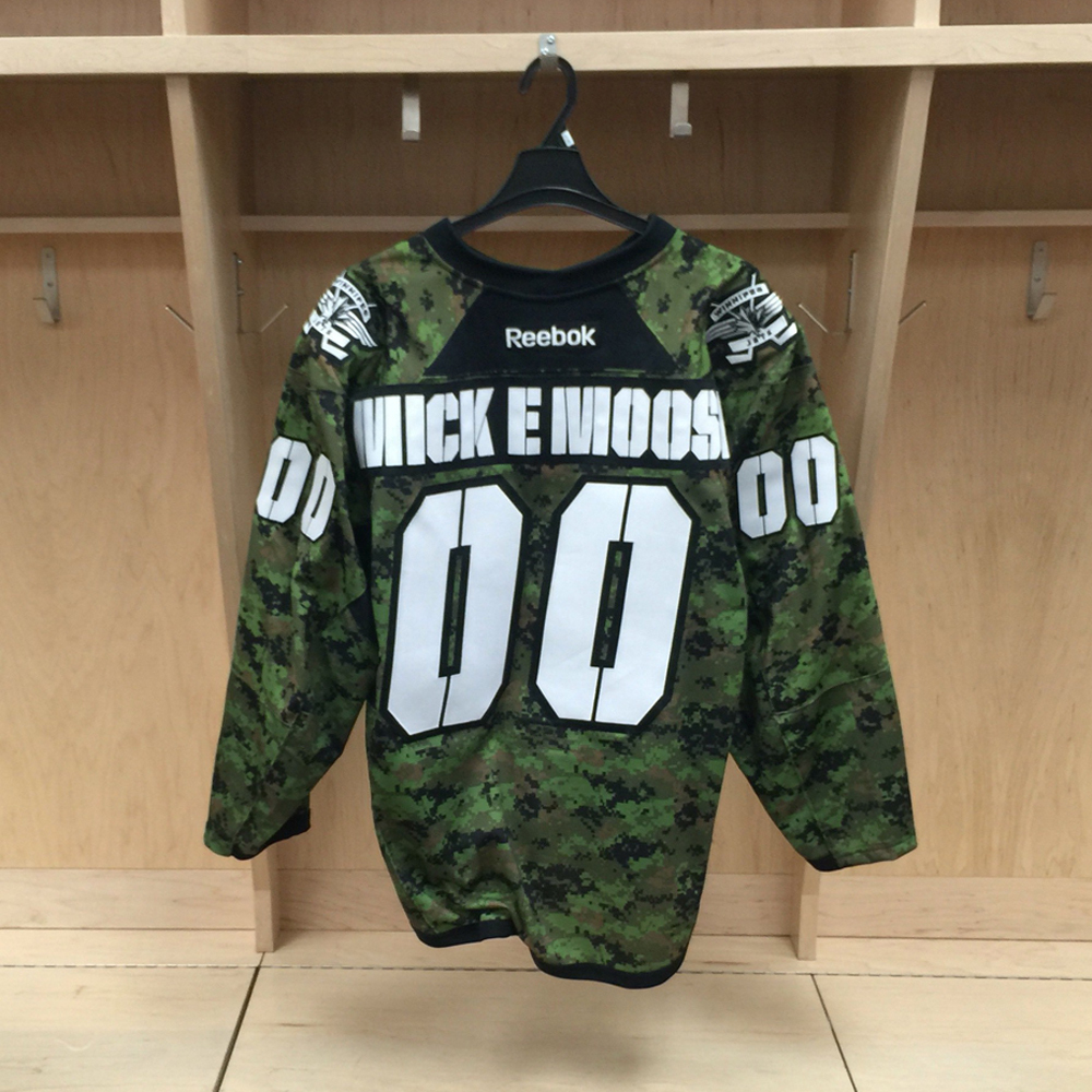 Mick E. Moose Winnipeg Jets Game Worn Canadian Armed Forces jersey