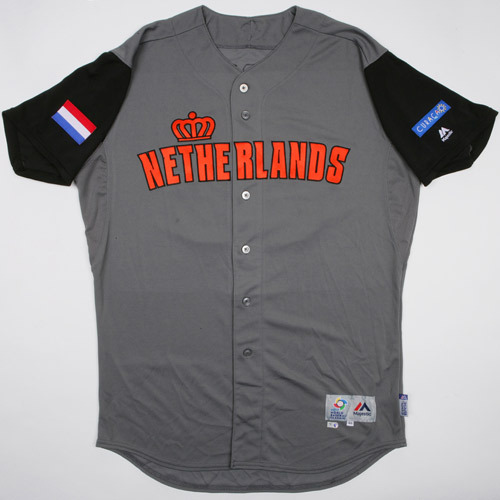 Photo of 2017 WBC Netherlands Game-Used Road Jersey, Schoop #15