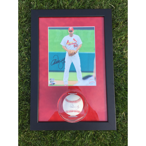 Cardinals Authentics: Adam Wainwright Autographed Photo and Ball Frame