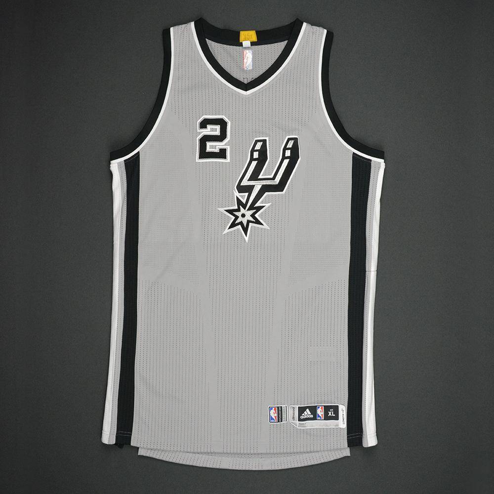 Kawhi Leonard - San Antonio Spurs - Gray Playoffs Game-Worn Jersey - 2016-17 Season