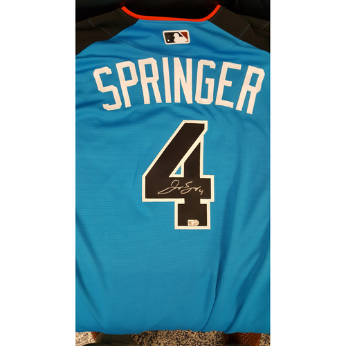 Photo of George Springer 2017 Major League Baseball Workout Day/Home Run Derby Autographed Jersey