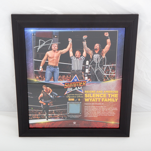 Photo of Dean Ambrose & Roman Reigns SIGNED SummerSlam Commemorative Ring Canvas Plaque (#5 of 5)