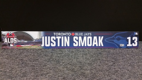 Photo of Authenticated Game Used 2015 Postseason ALDS Locker Tag - #13 Justin Smoak