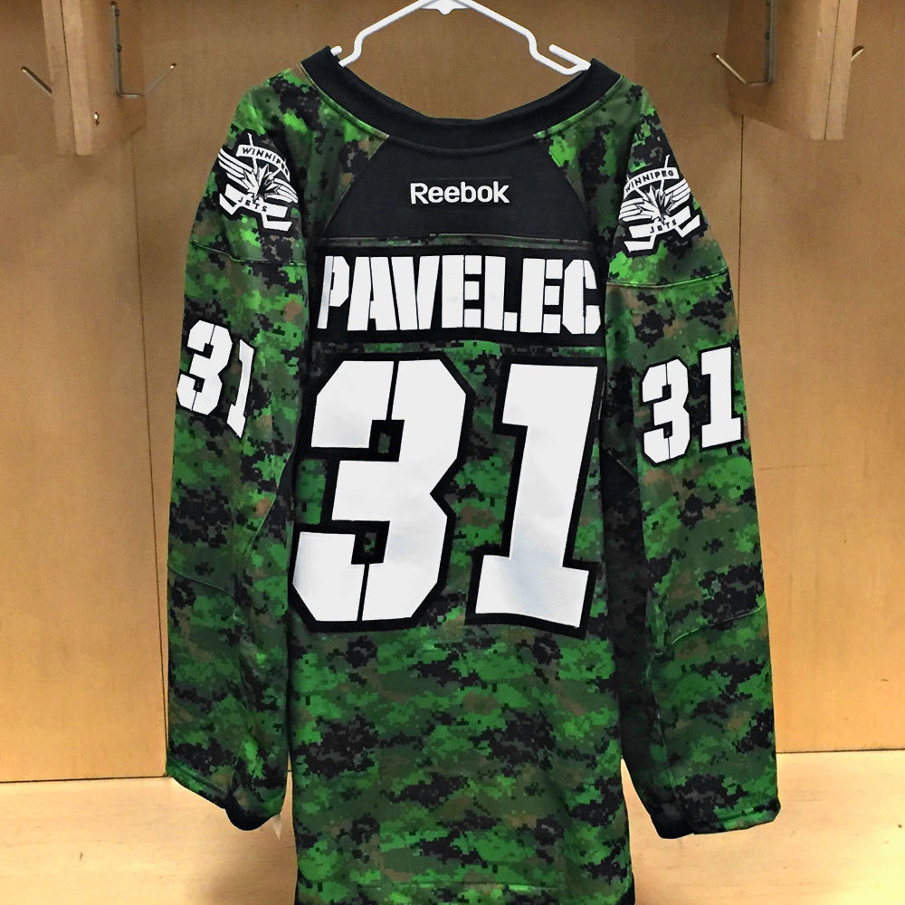 Ondrej Pavelec Winnipeg Jets Warm Up Issued Canadian Armed Forces jersey