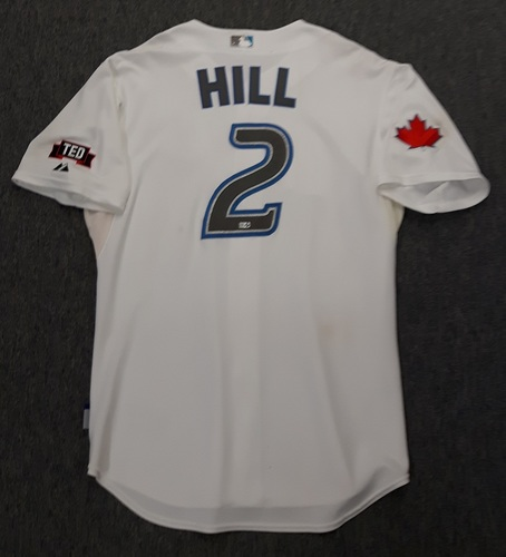 Photo of Authenticated Game Used Jersey - #2 Aaron Hill (July 22, 2009). Hill went 1-for-4 with 1 HR, 2 Runs, 1 RBI and 1 Walk