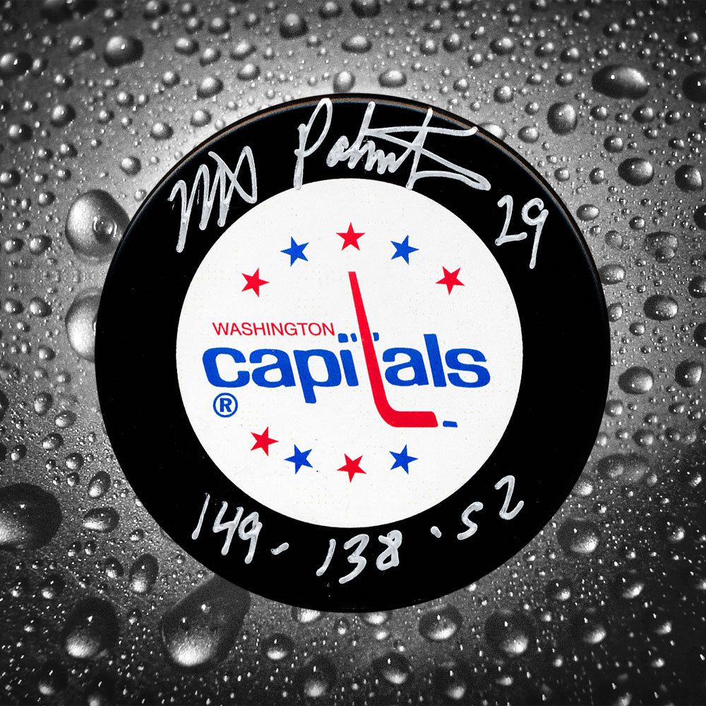 Mike Palmateer Washington Capitals Stats Autographed Puck