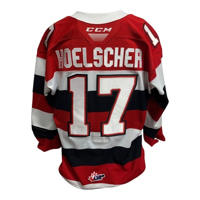 #17 Mitchell Hoelscher 67s Game Worn Barberpole Jersey