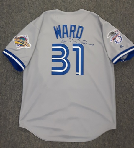Photo of BLUE JAYS AUTHENTICS- Autographed Duane Ward Blue Jays Cooperstown Road Jersey w/  1992 World Series Sleeve Patch (Size Large)