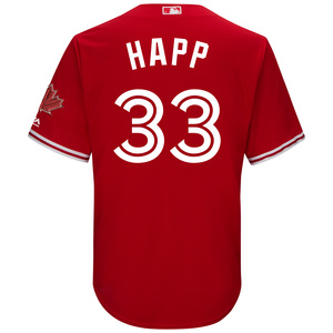 Toronto Blue Jays Cool Base Replica J.A. Happ Alternate Red Jersey by Majestic