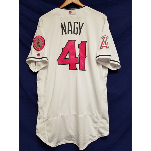 Photo of Charles Nagy Game-Used Home Mother's Day Jersey