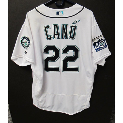 Photo of Robinson Cano White 40th Anniversary Game-Used Jersey 7-8-2017