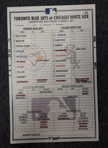Photo of Authenticated Game Used Line Up Card - August 1, 2017 vs CWS: Stroman's 10th win of the season. 11 inches by 17 inches.