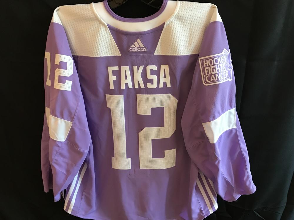 Radek Faksa Warm-Up Worn Hockey Fights Cancer Jersey