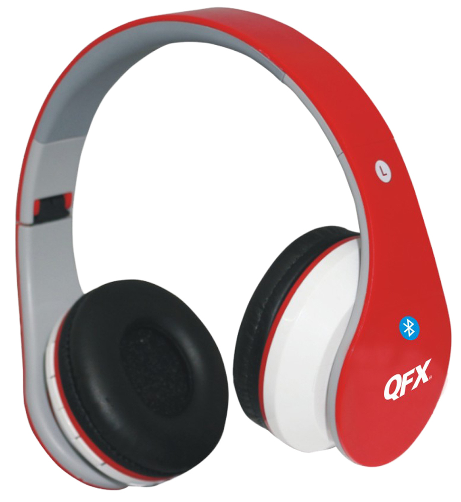QFX H-251BT Full Over Ear Folding Bluetooth Stereo Headphones with FM Tuner in Red