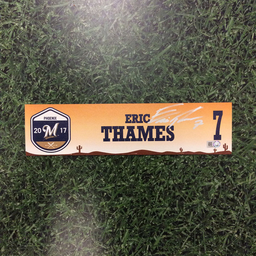 Photo of Eric Thames Autographed 2017 Spring Training Locker Nameplate