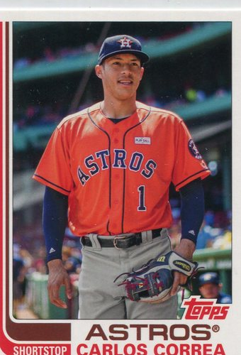 Photo of 2017 Topps Archives #102B Carlos Correa short print wearing glove -- Astros ALCS roster