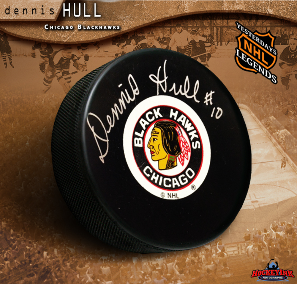 DENNIS HULL Signed Chicago Blackhawks Puck