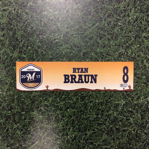 Photo of Ryan Braun 2017 Spring Training Locker Nameplate