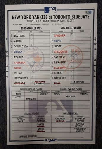 Photo of Authenticated Game Used Line Up Card - August 10, 2017 vs NYY: Bautista had his 36th Career HR against NYY. 11 inches by 17 inches.