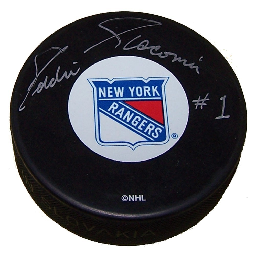 Eddie Giacomin Autographed New York Rangers Puck