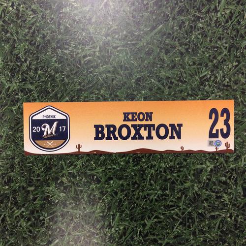 Photo of Keon Broxton 2017 Spring Training Locker Nameplate
