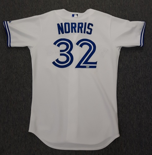 Photo of Authenticated Game Used Jersey - #32 Daniel Norris (April 13, 2015). Blue Jays Home Opener