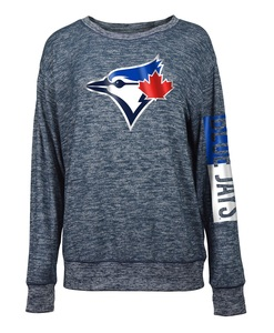 Toronto Blue Jays Women's Space Dye Crew Fleece Navy by 5th & Ocean