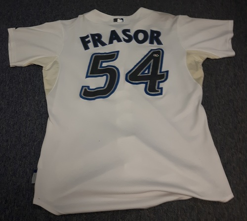 Photo of Authenticated Game Used Jersey - #54 Jason Frasor (August 17, 2007). Size 46.